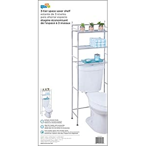 Honey-Can-Do BTH-05079 3-Tier Metal Bathroom Shelf Space Saver, 9.45 x 22.83 x 59.84, Chrome