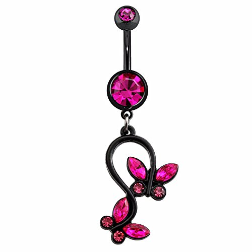 "Butterfly Ring Belly Black (Freedom Fashion Black IP Plated Gem Butterfly Dangle 316L Surgical Steel Navel Ring (Sold Individually) (14GA, 3/8"", Black/Pink))"
