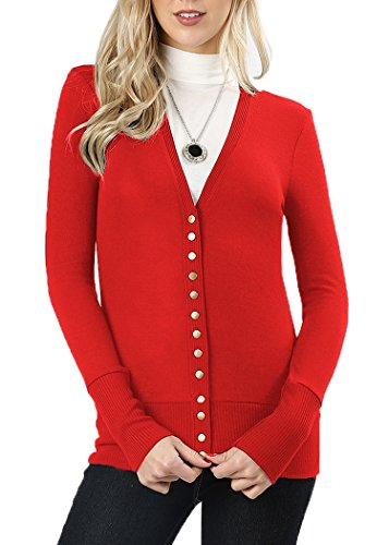JNTOP Women's Snap Button Cardigan Sweater Red 1X-Large