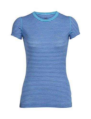Icebreaker Femme Sprite SS Crewe Sous-vêtements L Mist Blue Hthr/Cobalt/Stripe