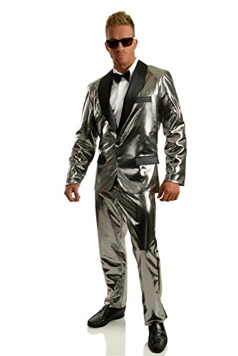 Charades Men's Disco Ball Tuxedo Set with Pants, Silver/Black Small -