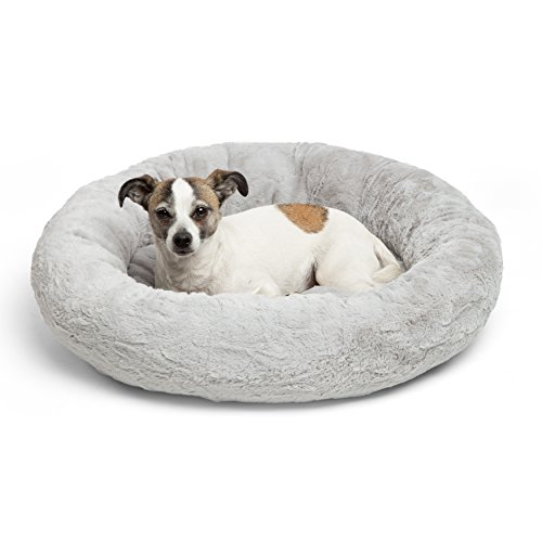 Dog Luxury Donut Bed (Best Friends by Sheri Luxury Faux Fur Donut Cuddler (23x23), Gray - Small Round Donut Cat and Dog Cushion Bed, Orthopedic Relief)