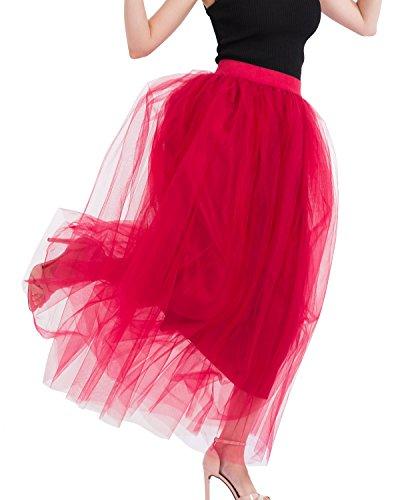 Rouge Ligne A Printemps Vin Jupe t Longue Taille Femmes lastique Couches Tutu FOLOBE Tulle 4UqOS