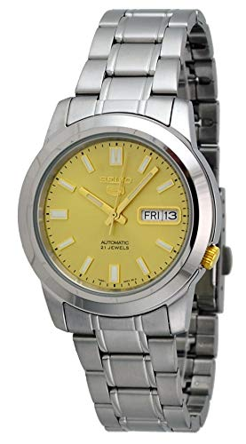 - Seiko 5 SNKK13 Men's Stainless Steel Gold Dial Self Winding Automatic Watch