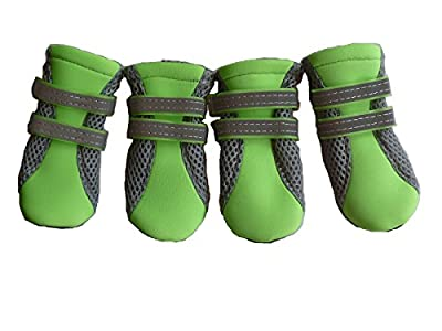 LONSUNEER Puppy Daily Soft Sole Nonslip Mesh Boots 2 Long Safe Reflective Straps Breathable Set of 4 by Lifeful
