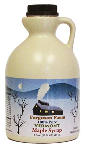Ferguson Farms 100% Pure Vermont Maple Syrup, Grade A Fancy Light, Jug 1 Quart (32oz)