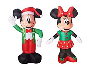 Mickey Mouse Minnie Mouse Christmas Decorations Outdoor Yard Decor - 5 Feet Tall Airblown Self Inflatable Energy Efficient LED Lights Bundle - 2 Items