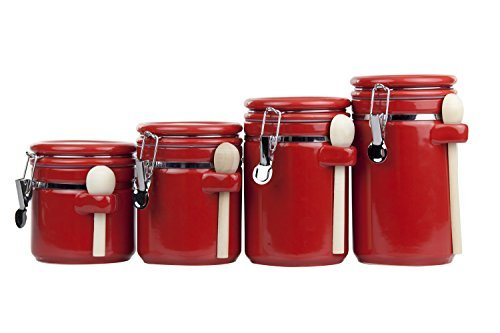 (Home Basic 4 Piece Ceramic Canister Set with Spoon, Red)