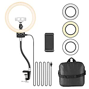 Neewer 8.9 inches Webcam Light for Logitech Webcam Dimmable USB LED Ring Light with Flexible Stand and Phone Holder for Logitech Webcam C920 C922x C930e Brio 4K C925e C922 C930 C615 and Smartphone