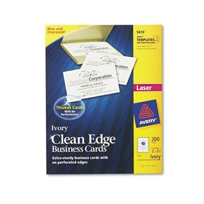 Avery 5876 Clean Edge Business Cards, Laser, 2 x 3 1/2, Ivory, 200/Pack (Dennison Avery Templates)