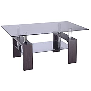 Table with glass top and wood legs