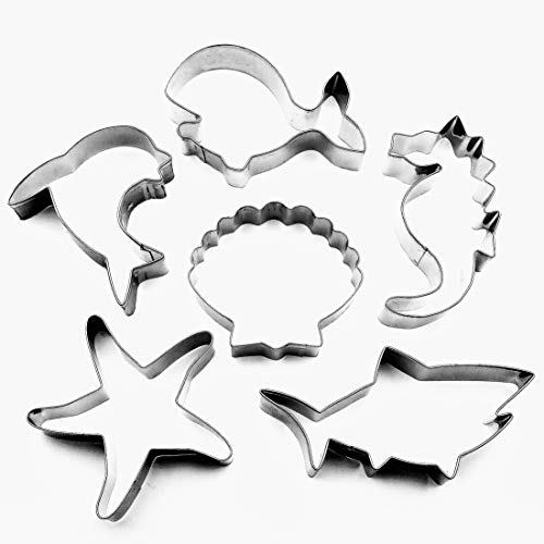 (LAWMAN Sea Ocean Creature Cookie Cutters Set - 6 PCS - Whale, Shark, Dolphin, Seahorse, Starfish and Seashell Shape - Stainless Steel)