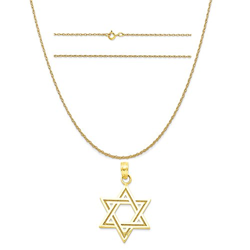 14k Yellow Gold Solid Satin Star Of David Charm on 14K Yellow Gold Carded Rope Chain Necklace, - Solid Star Necklace Of David