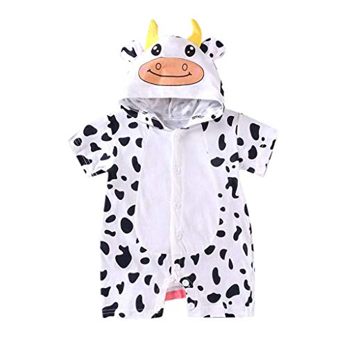 Kids Outdoor Tops, Unisex Baby Cartoon Jumpsuit,Baby Girls Boys Cartoon Ear Animal Print Romper Summer Playsuits White
