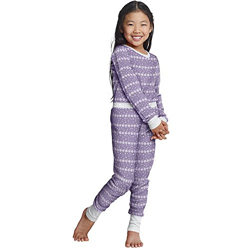 (Hanes X-Temp Girls` Thermal Set, 34600, S, Lavender Snowflakes)