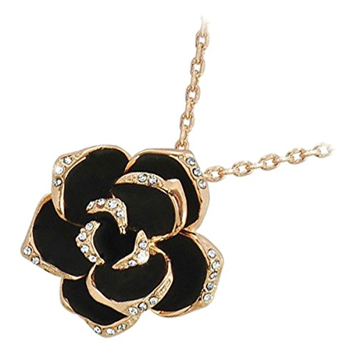 GWG 18K Rose Gold Plated Rosebud Flower with Black Leaves Graced with Diamond Clear Crystals Pendant Necklace for - Gold Rosa Crystal Leaf