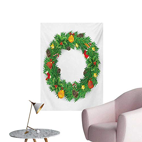 - Anzhutwelve Christmas Photographic Wallpaper Festive Wreath Evergreen with Candy Cane Stockings Mistletoe Berries on DoorGreen White W32 xL48 Poster Paper