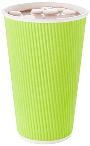 Disposable Paper Hot Cups - 500ct - Hot Beverage Cups, Paper Tea Cup - 16 oz - Eco Green - Ripple Wall, No Need For Sleeves - Insulated - Wholesale - Takeout Coffee Cup - Restaurantware (Cup Green Cappuccino)