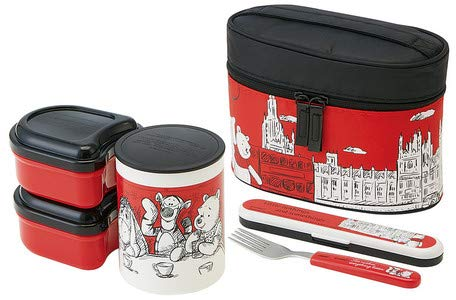 - Lunch Box 560ml with Warm jar with Ultra-Lightweight Compact Fork case [Pooh London]
