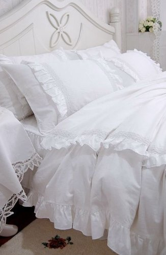 duvet white gift in ruffle stevensimon home lace princess ruffles bag bedclothes silk cover skirt bedding org queen bed twin from set romantic sets bedspread king
