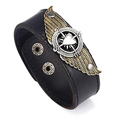 Jubuk Men s bracelet Creative Punk Men Bracelets Geometric Male Heart Wing Design Black Leather Bracelet Wristband Charm Jewelry Gift Estimated Price £21.36 -