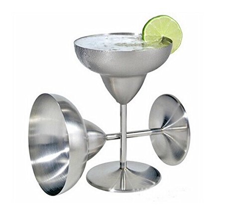 Margarita Glasses Wine Glass 12 OZ- 304 Stainless Steel - Cinco de Mayo Party Decoration 2 Pack ()