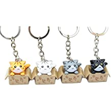 InspireMe Family Owned Set of 4, Super Cute Cat-in-a-Box Keychains