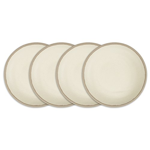 Q Squared Potter Collection, BPA-Free and Shatterproof Melamine and Bamboo Cereal Bowl, 6-1/2-Inches, Set of 4, Stone, Gray ()