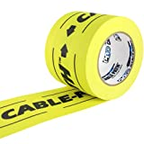 "ProTapes Cable Path Cured Rubber Resin Zone Coated Gaffers Tape, 12.5 Mil Thick, 30 Yds Length, 4"" Width, Yellow Printed Black (Pack of 1)"