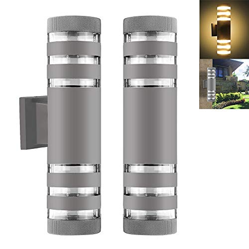 Outdoor Wall Sconce-Modern Waterproof Up Down Aluminum Cylinder LED Wall Light Fixtures Dual Head Wall Lamp Outdoor E27 Socket AC 85-240V for Courtyard Garden Porch Corridor (Cylinder Gray) ()