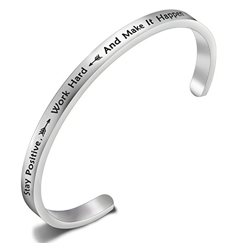 FEELMEM Stay Positive Work Hard and Make It Happen Cuff Bangle Bracelet Motivational Quote Inspirational Jewelry -