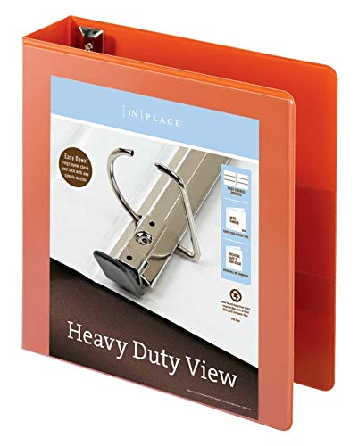 Office Depot Brand Heavy-Duty Easy Open D-Ring View Binder Orange 2 Rings 54/% Recycled