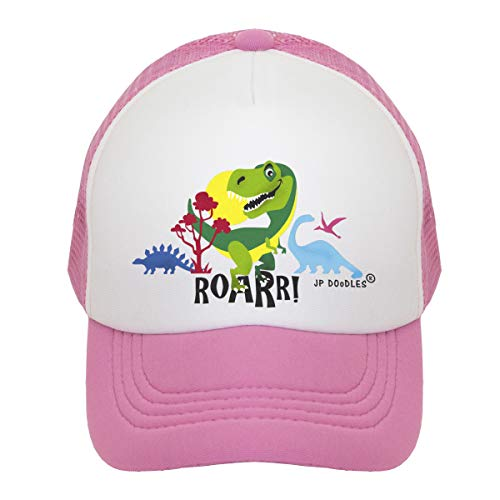 JP DOoDLES T-Rex Dinosaur on Kids Trucker Hat. Kids Baseball Cap is Available in Baby, Toddler, and Youth Sizes.… (Light Pink, ITTY Bitty 4-12 MOS) ()