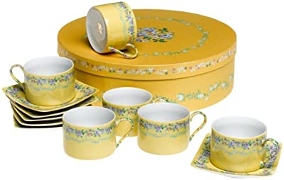 Yedi Houseware Classic Coffee and Tea French Garden Teacups and Saucers, Set of 6