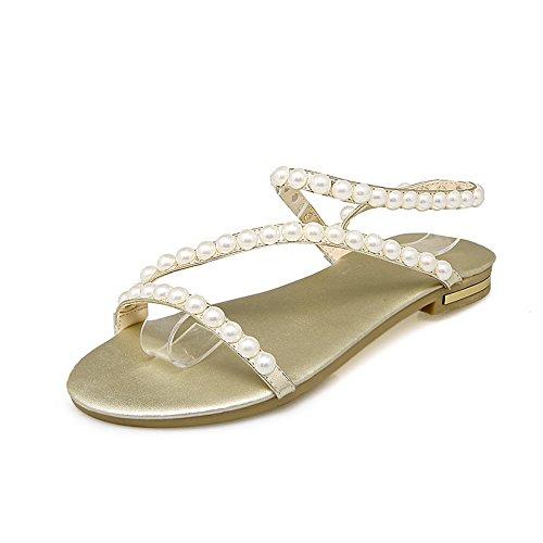 femminili sandali semplici Damenschuhe Spiaggia pelle le goldene fondo in Studentenwohnung scarpe con Pearl Comfort xSWq68WUw