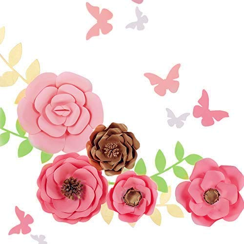 Fonder Mols 3D Paper Flower Wall Display (Pink Gold, Set of 5) Girl Nursery Wall Decor, Baby Shower Flower Backdrop, Wedding Bouquets Centerpieces, Bridal Shower