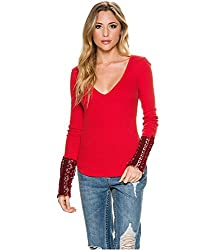 Free People Womens M Red