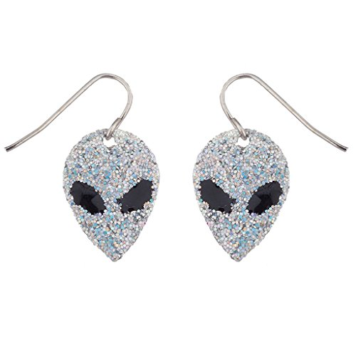 [Lux Accessories Outer Space Glitter Alien Faces dangle earrings] (Alien Costume Woman)