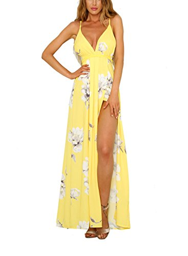 FFLMYUHUL I U Women's Strap Floral Print Lace Up Backless Deep V Neck Sexy Split Beach Maxi Dress