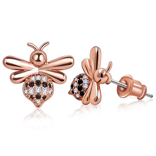 ZRO 1 Pair Bee EarringsforWomen and Girls, Clear Cubic Zirconia Stud Earrings Set, Stainless Steel Chic Bee Jewelry Fashion Earrings, Rose Gold Earrings with a Gift Box