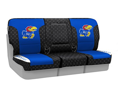 Coverking Custom Fit Front 40/20/40 NCAA Licensed Seat Cover for Select Nissan Titan Models - Neosupreme (University of Kansas) by Coverking