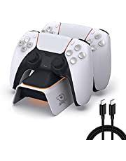 Soulion PS5 Controller Charger Station,Dual PS-5 Charging Station with LED Indicator Safety Chip Protection, Upgraded Type-C Fast Charging Dock Stand for Dualsense PS5 Controllers, White