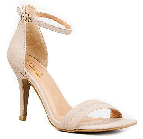 Womens Ankle Strap High Heel - Dress Wedding Party Sandal - Basic Pump Low Heel Marvel by J. Adams Nude