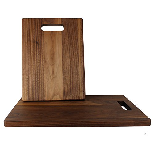 American Walnut Handle (KitchenTalent Walnut Cutting Board Set - Large and Small Dark Hardwood Chopping Boards With Handle - 11 x 16 x .75-9 x 12 x .75 - Solid Wood Butcher Block - Great Gift Idea)
