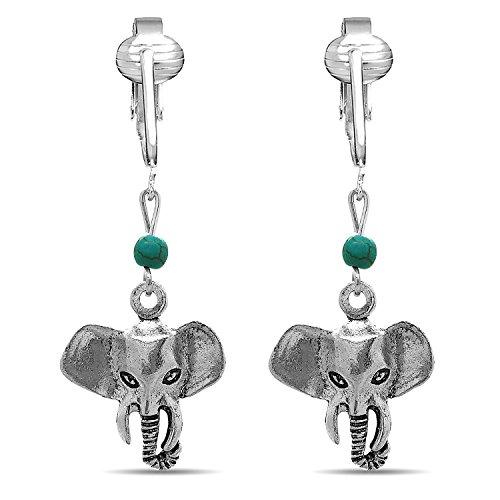 Fun Silver Elephant Clip On Earrings-Clip On Elephant Earrings-Sparkle Clip On Earrings Elephant Kids (Silver (Enamel Childrens Elephant Earrings)