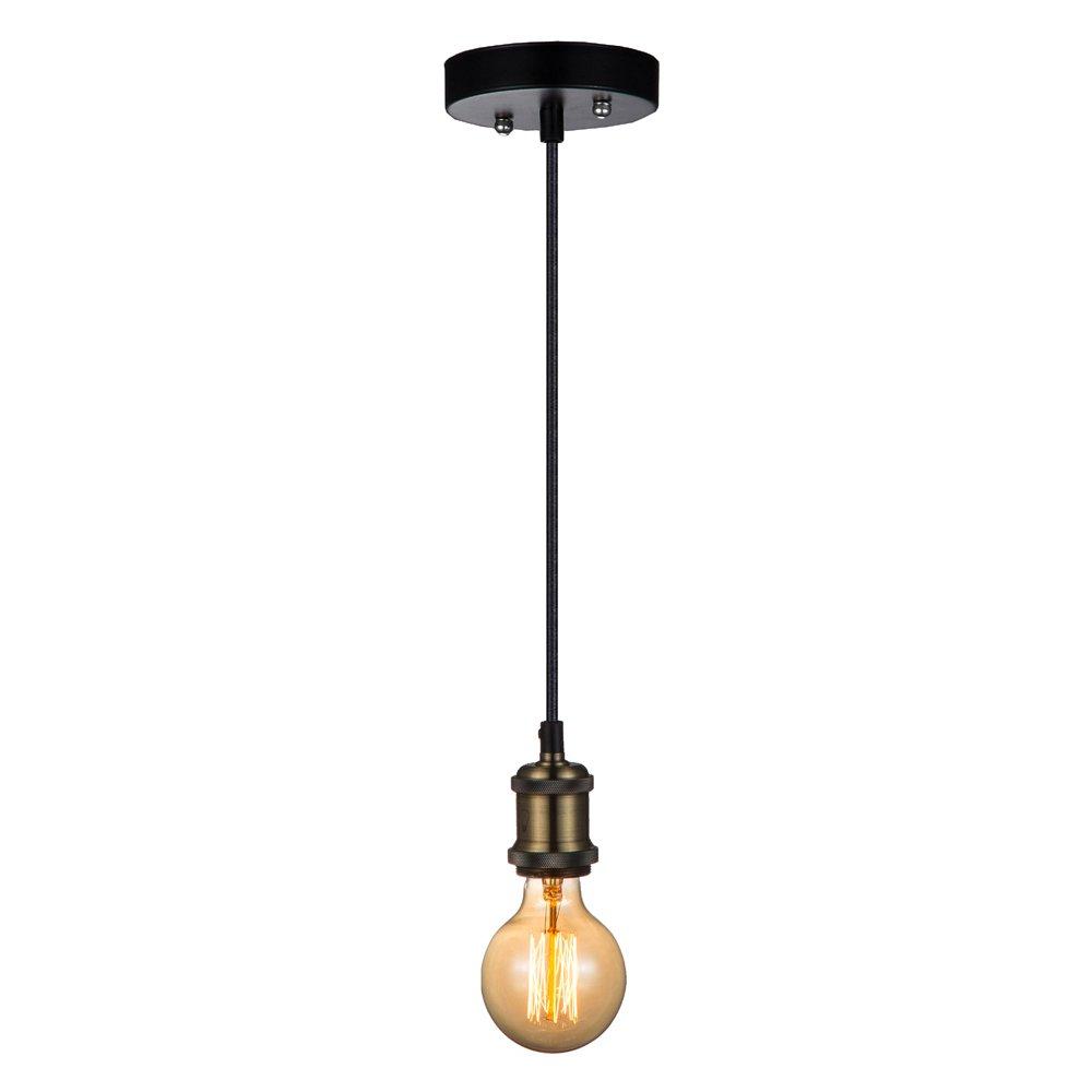 JINZO Vintage Edison Single Mini Pendant Light E26/E27 Base Bulb Socket With Brone Finish 3x18 AWG Cable-1PC