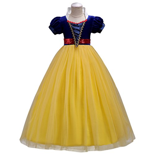 FYMNSI Girls Snow White Costume Fairytale Princess Dress Short Sleeve Dresses Up Cosplay Party Ball Evening Gown Yellow (Fairy Tale Clothes)