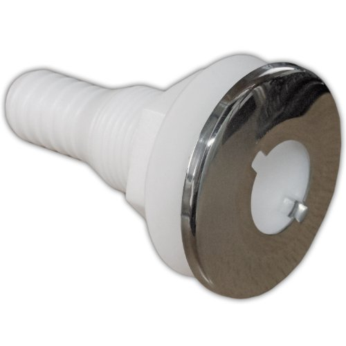 Five Oceans White Nylon/Stainless Steel Thru-Hulls with Stud for Hose, 3/4 inches FO-2558