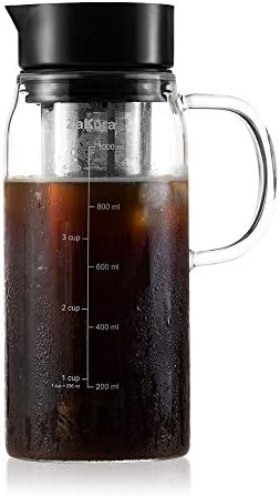 Cold Brew Coffee Maker by ZaKura, 1.0 Liter 34 Ounce, Durable Brewing Glass Carafe with Airtight Sealing Lid and Removable Stainless Steel Filter