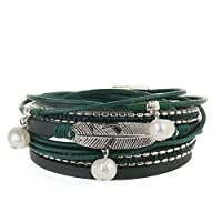 Unisex Genuine Leather Bracelet With Pearl Pendant,Jungle Green Vintage Feather Braid Rope Cuff Bangle, Magnet Buckle And Locket- By JOYMIAO